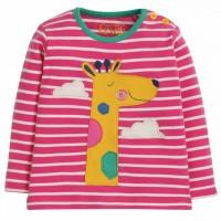 Shirt langarm Giraffe Aufnäher pink Streifen