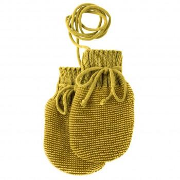 Baby Strickhandschuhe aus Schurwolle curry-gold