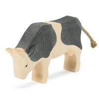 Kuh schwarz Holzfigur fressend 11,5 cm hoch