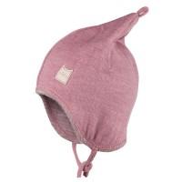 Wolle Seide Zipfelmütze doppellagig atmungsaktiv rosa