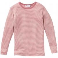 Langarmshirt Wolle Seide rosa gestreift
