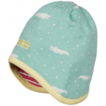 Wendemütze Sweat Krokodile mint Ringel pink