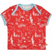 Leichtes Kurzarm Shirt Meereswelt rot