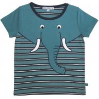 Edles T-Shirt Elefant Aufnäher Streifen in petrol