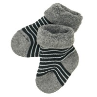 Weiche Frottee Babysocken grau gestreift