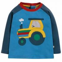 Shirt langarm Traktor Aufnäher blau