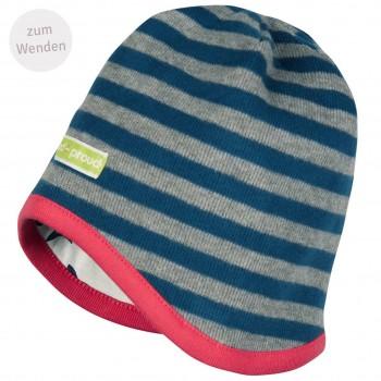 Mütze zum Wenden Ringel in grau/dunkelblau