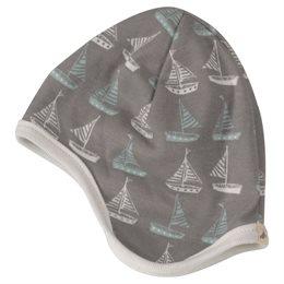 Baby Wendemütze ohne Bänder grau taupe - Boote
