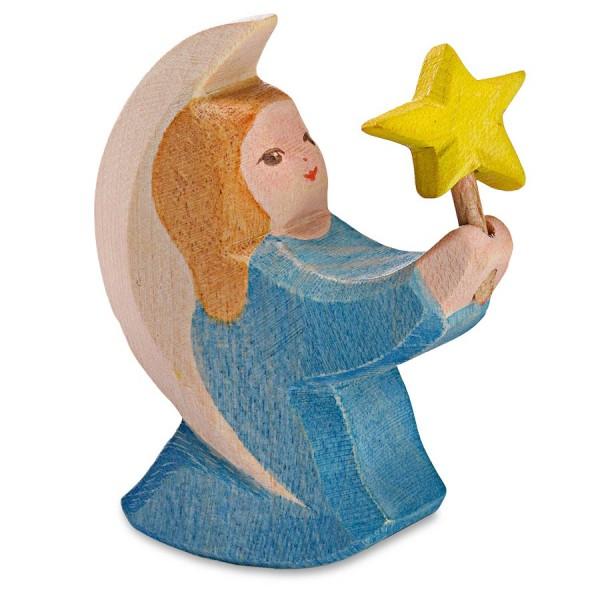 Engelchen mit Stern blau Holzfigur 6 cm hoch