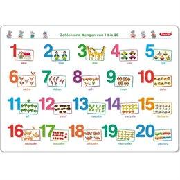 Lerntafel Zahlen und Mengen 1-20 ab 5 Jahre - 45 x 32 cm