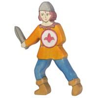 Junge kämpfend aus Holz oranges Hemd