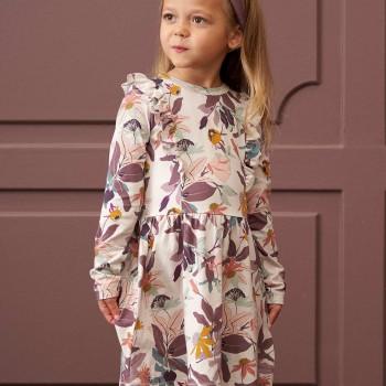Hochwertiges Mädchen Kleid langarm Dahlien