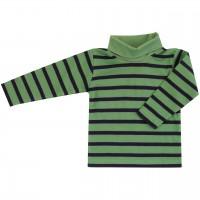 Edles Rollkragen Shirt langarmgrün-navy gestreift