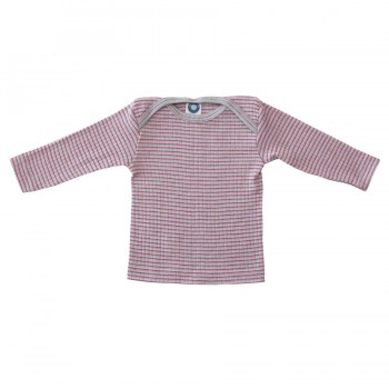 Baumwolle Wolle Seide Langarmshirt altgrau pink meliert
