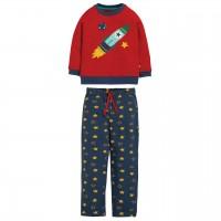 Roter Schlafanzug mit Raketen Aufnäher