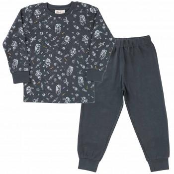 Jungen Schlafanzug Weltall dunkelgrau