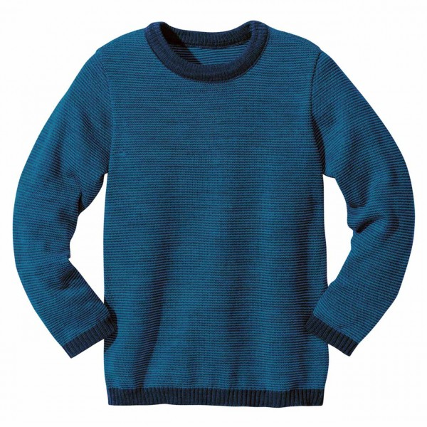 Wolle Basic Pullover in marine-blau
