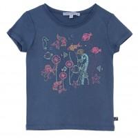 Bio Mädchen Shirt gestickte Unterwasserwelt