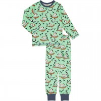 Lemuren Schlafanzug langarm grün